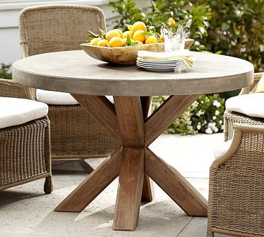 Round outdoor table 72 Inch Abbott Concrete Top Round Fixed Dining Table potterybarn Am In Love With This Concrete Top Table Pinterest Abbott Concrete Top Round Fixed Dining Table potterybarn Am In