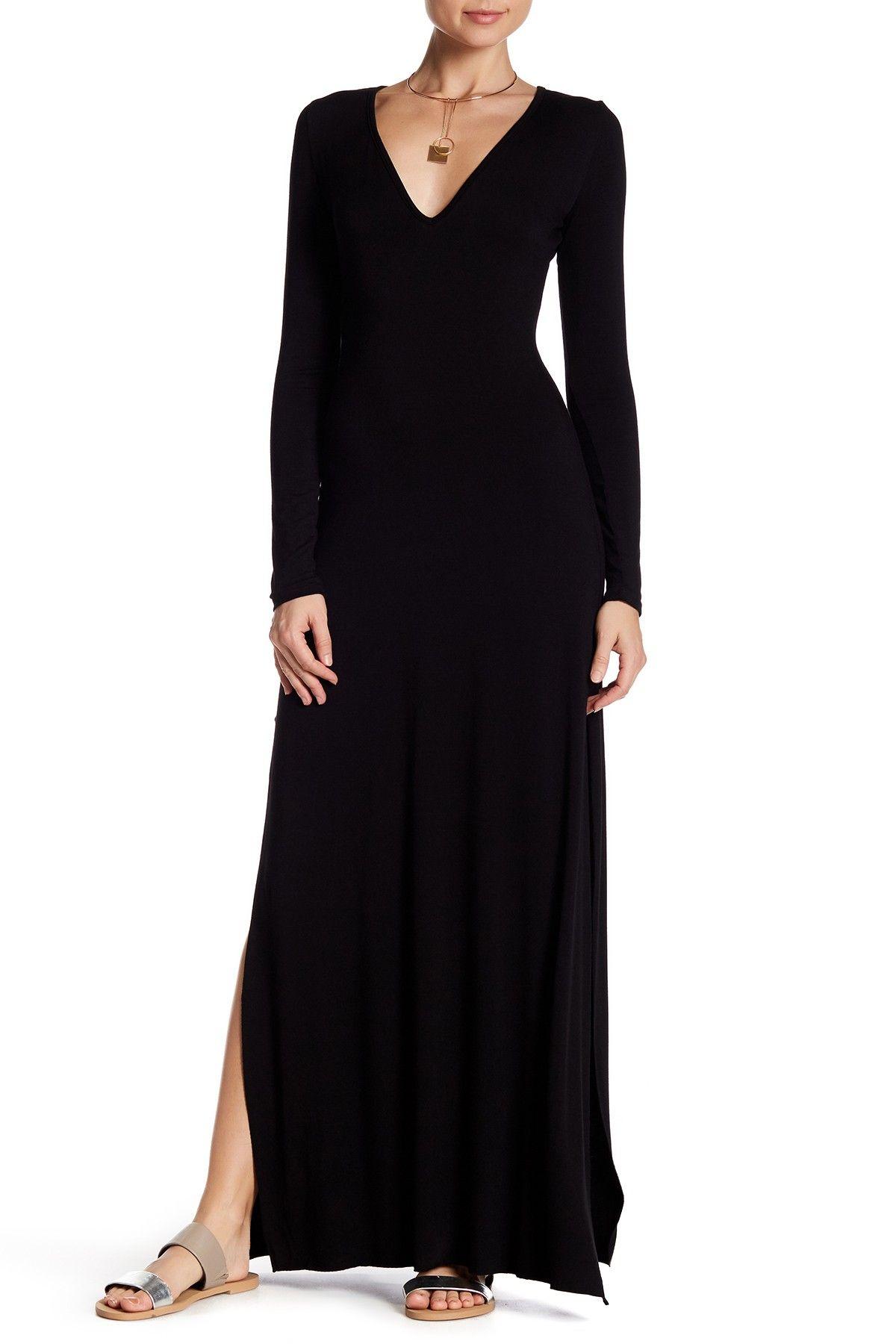 Clayton stevie long sleeve vneck maxi dress womens fashion street
