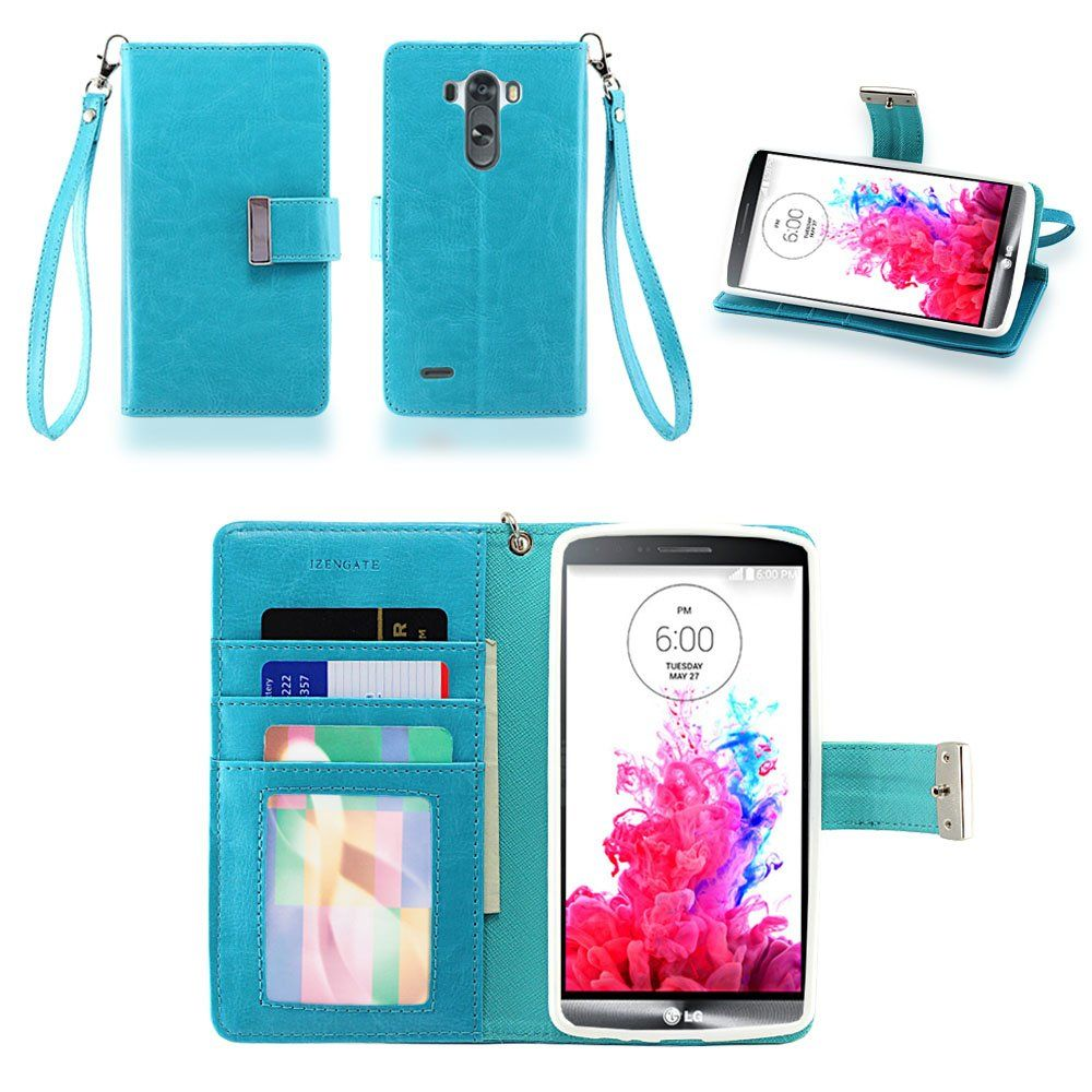 2fbe1d7ed1f I really really really want this for christmas IZENGATE LG G3 Wallet Case -  Executive Premium PU Leather Flip Cover Folio with Stand (Turquoise ...