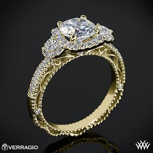 This 3 Stone Engagement Ring is from the Verragio Venetian Collection. It features 0.50ctw (F/G VS) Round Brilliant Diamond Melee that enhance the round diamond center of your choice. The width of this ring is 2.5mm. Select your diamond from our extensive online diamond inventory. Please allow 4 weeks for completion.  If you have any questions regarding this item then please contact one of our friendly diamond and jewelry consultants at 1-877-612-6770. This ring can only be re-sized up to a ...