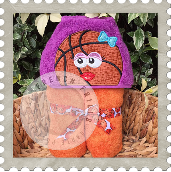 Basketball Girl Hooded Towel Design Embroidery Applique