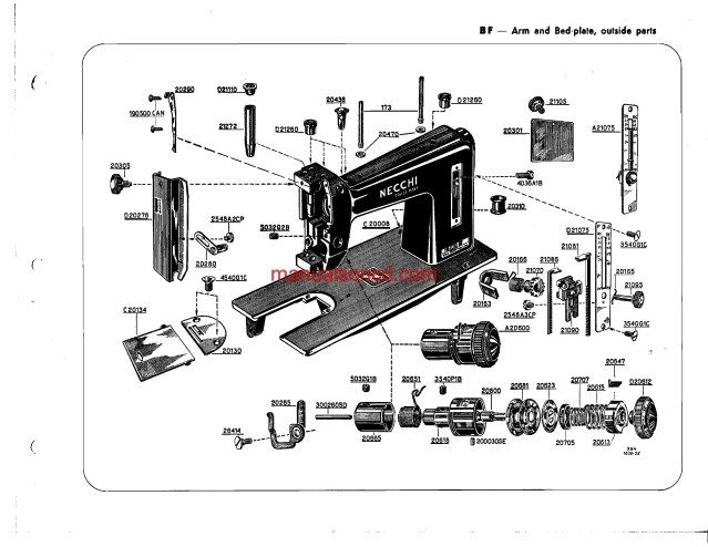 Necchi BF - BU Nova sewing machine parts catalogue Manual | Sewing