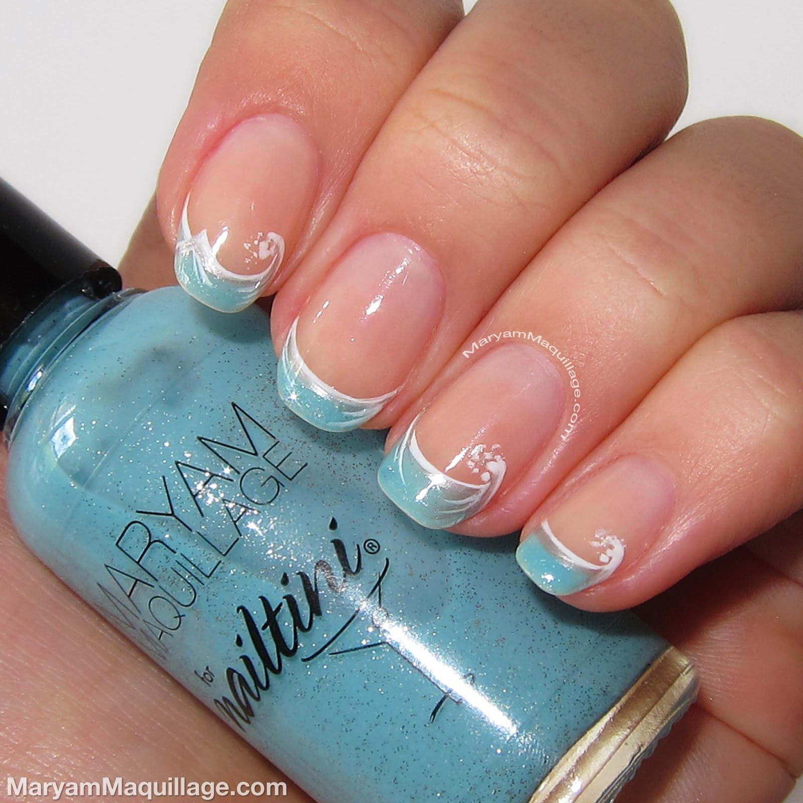 Maryam Maquillage Ocean Waves Artistic French Nail Art Nails