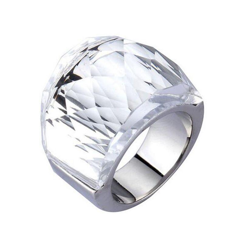 Vrouwelijke Mode Echte Oostenrijkse Kristallen Ring met 316L rvs Ring voor Vrouwen Big Kleurrijke Stone Grote Titanium Ring