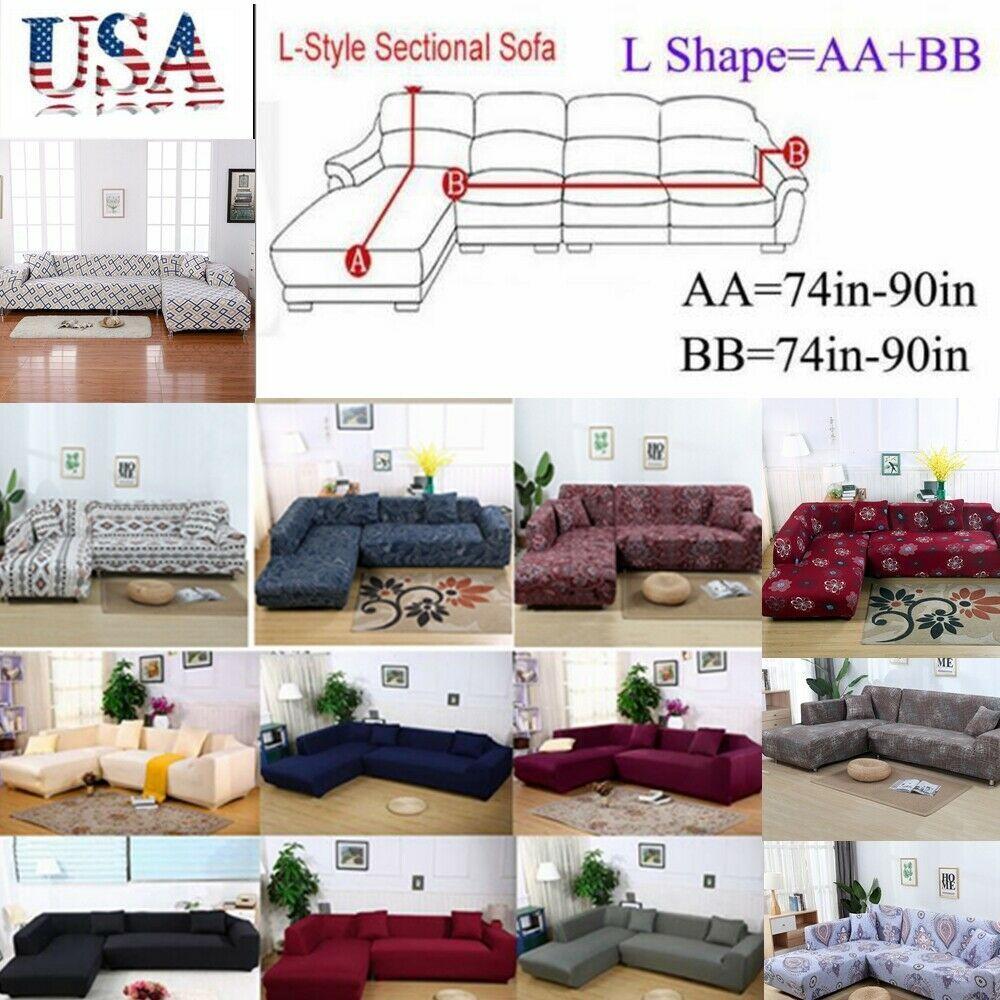 Sectional Sofa Couch Cover L Shape 2pcs Fabric Stretch Sofa Slipcoverpillowcase Sofa Slipcover Ideas O Sectional Sofa Couch Sectional Sofa Slipcovered Sofa