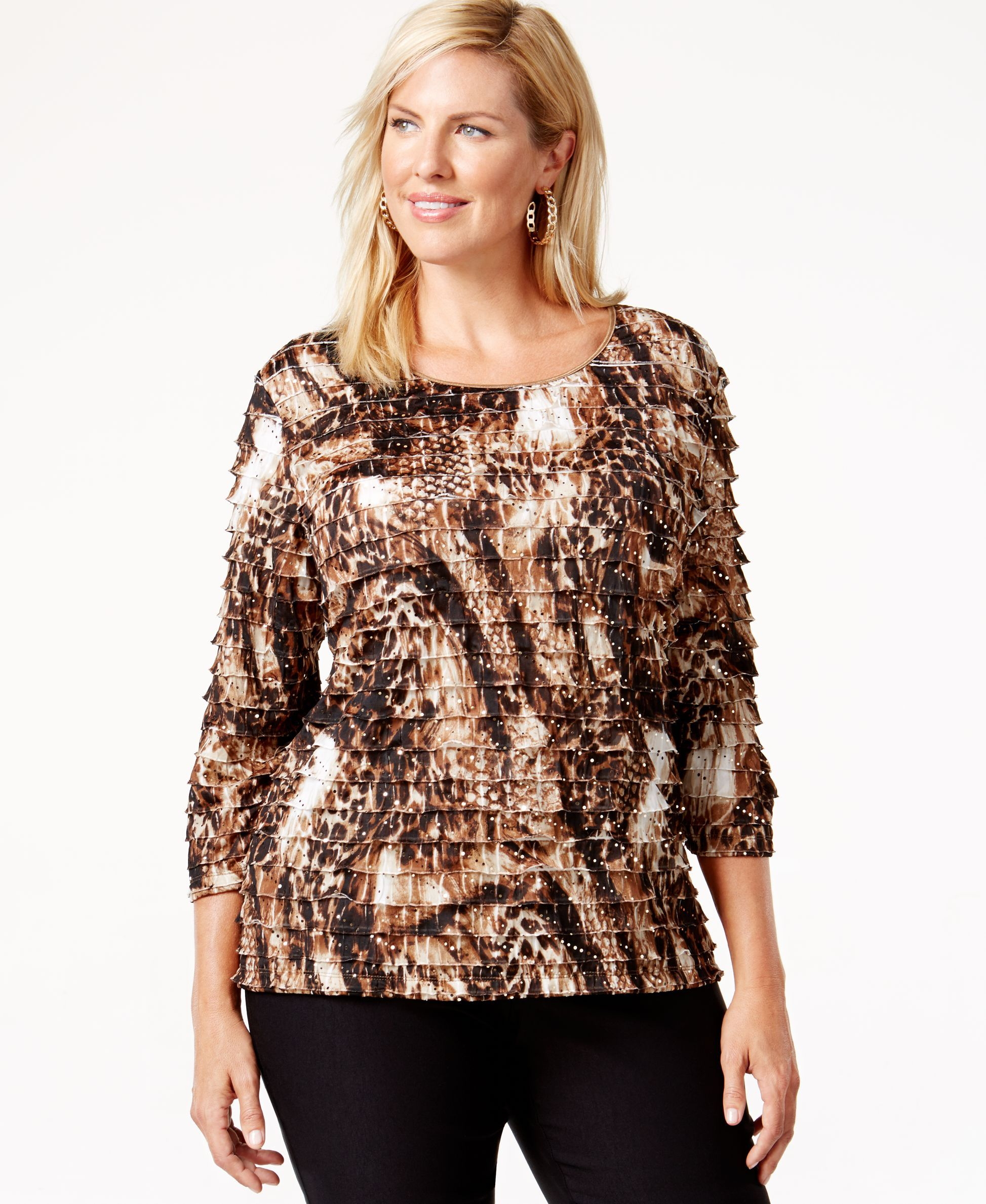 Jm Collection Plus Size Ruffled Animal-Print Top, Only at Macy's