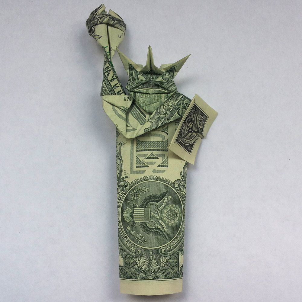 Money origami statue of liberty art gifts figurine real two 1 money origami statue of liberty souvenir new york city real 2 one dollar bills by trinket2shop jeuxipadfo Image collections