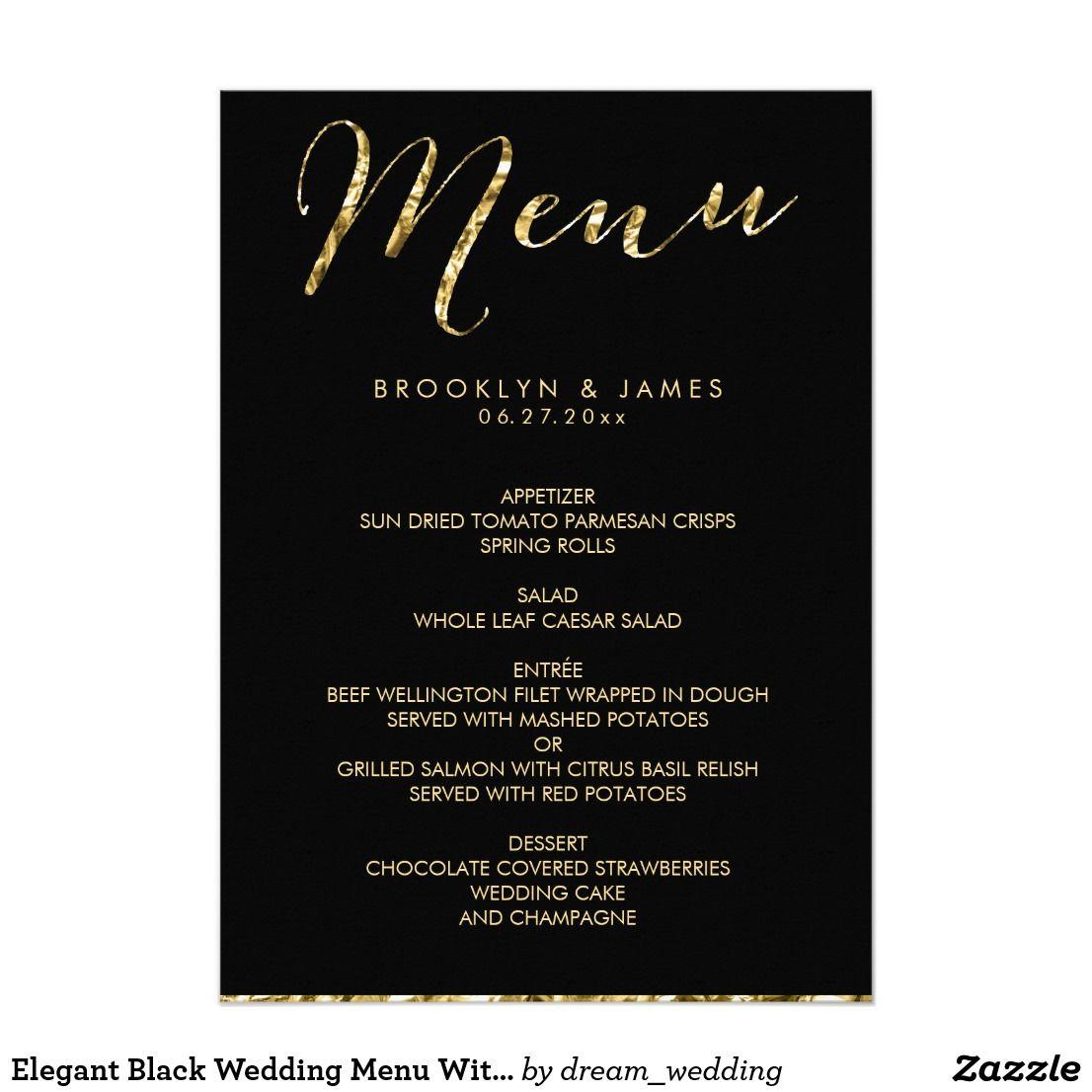 Elegant Black Wedding Menu With Gold Foil Card | Zazzle and ...