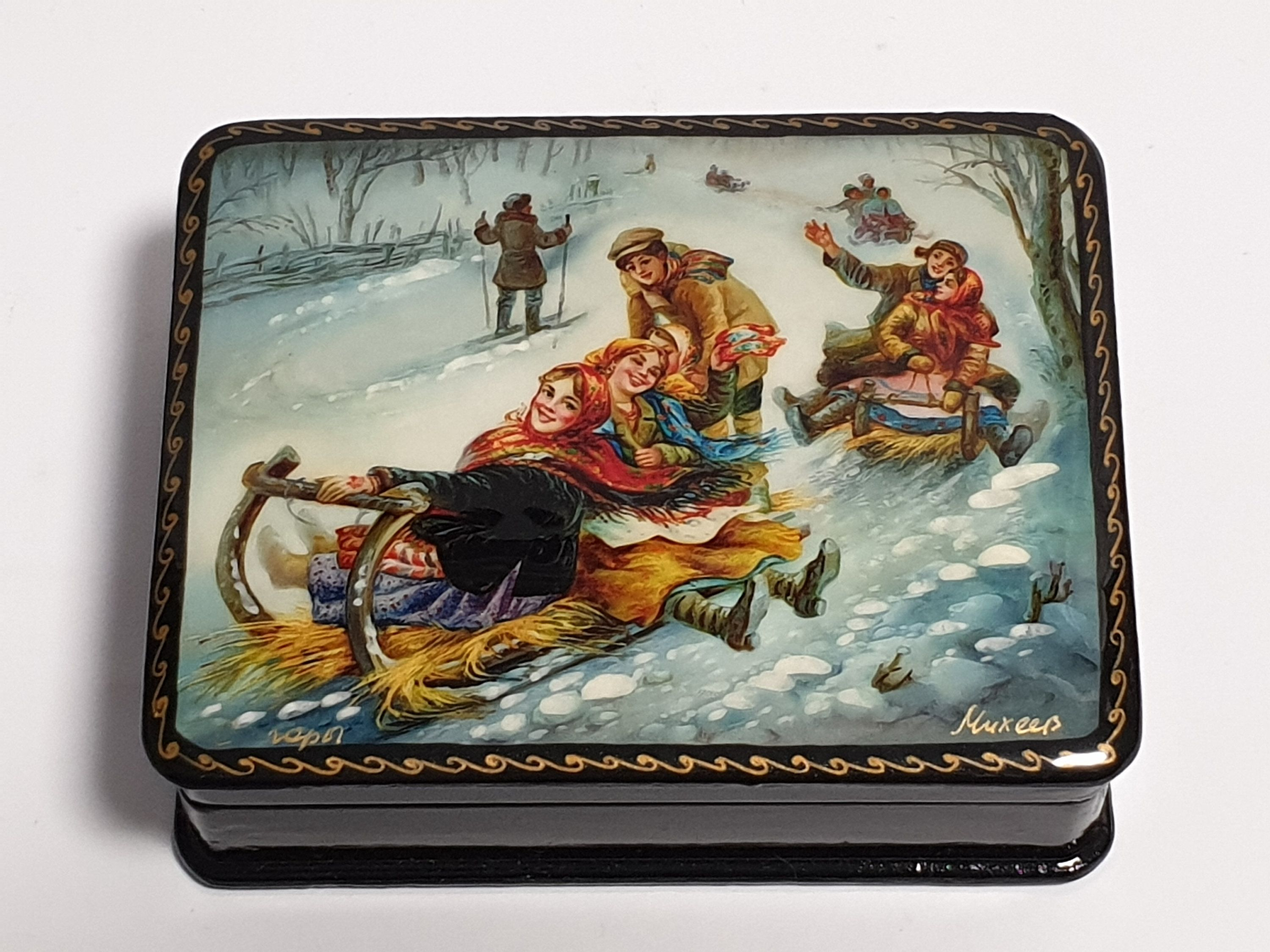 Russian Lacquer Box Fedoskino Unique Trinket Box Painted Wooden Jewlery Box Gift for Her