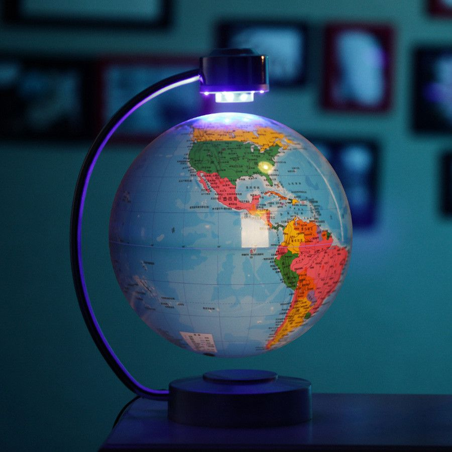 8 inch blue electronic magnetic levitation floating globe world 8 inch blue electronic magnetic levitation floating globe world map with led lights for boyfriend christmas gift home decoration gumiabroncs Gallery