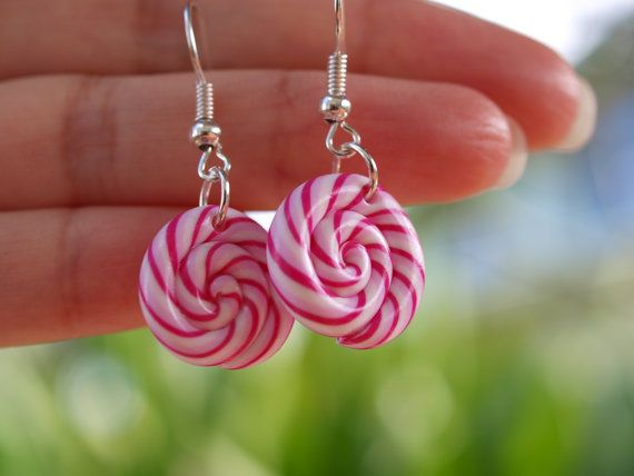 Pink lollipop earrings in polymer clay gift by BoutiqueMignonnerie, $13.00