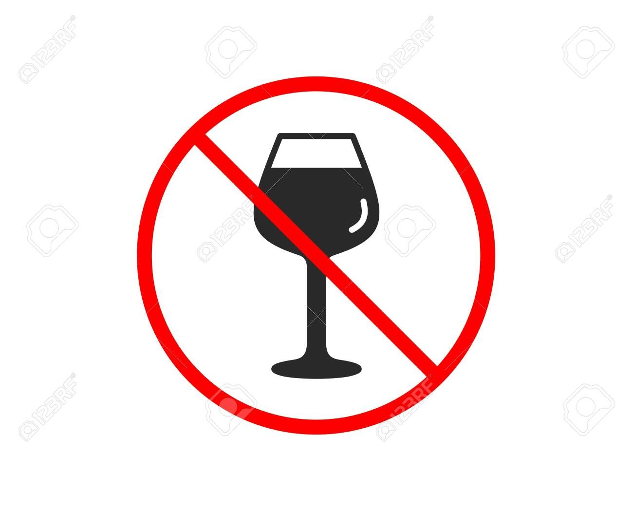 No Or Stop Wine Glass Icon Bordeaux Glass Sign Prohibited Ban