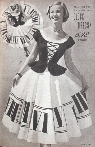 """1950s circle skirt: I would love to make this """"clock dress."""" What a perfect idea for a circle skirt! Circa 1951  #1950sfashion #skirt #vintage"""