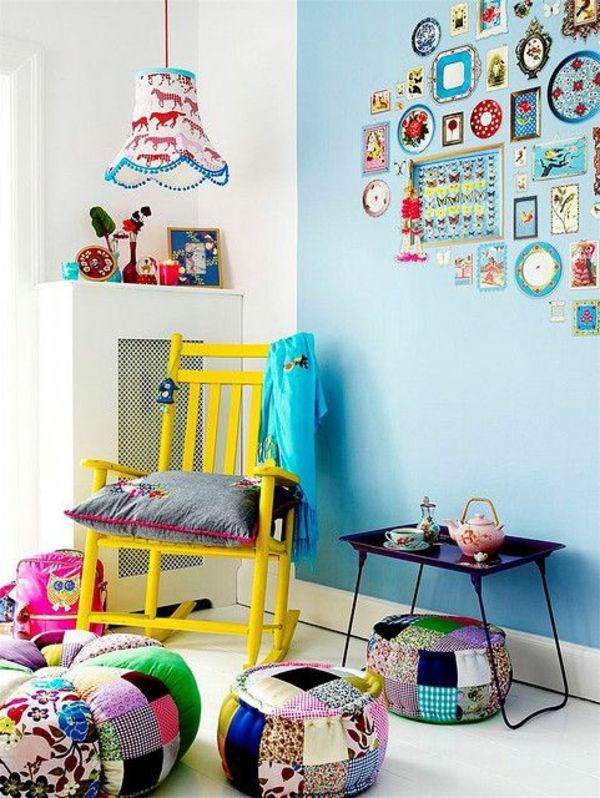 Kinderzimmer Dekorieren Farbige Hocker Tolle Hängelampe Hellblaue Wand