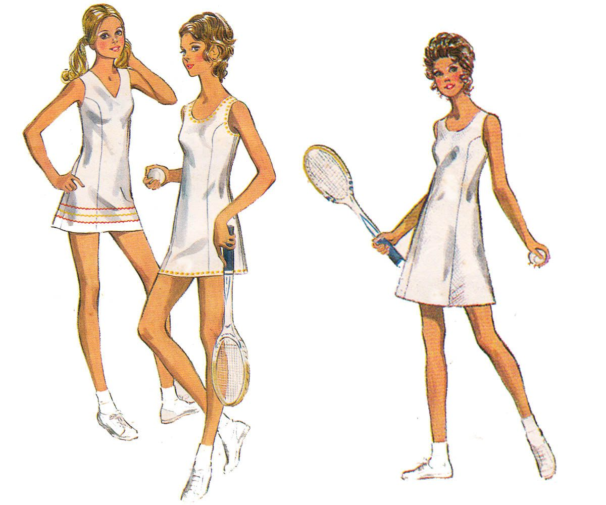 70s Princess Seamed Tennis Dress & Panties Pattern Style 3190 ...