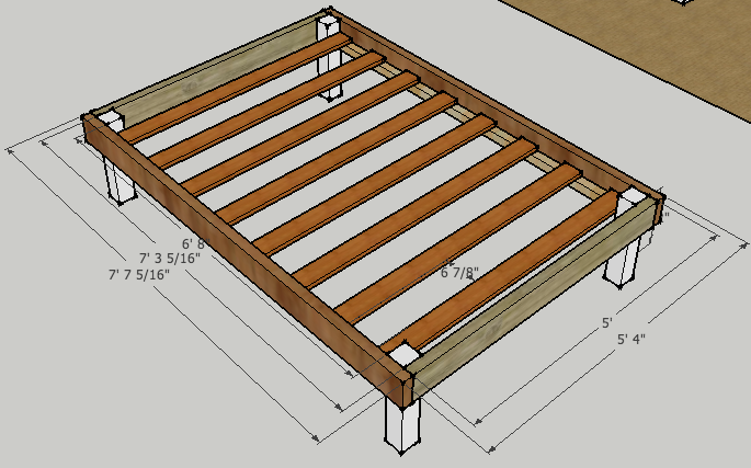 Simple queen bed frame by luckysawdust lumberjocks for Simple platform deck plans
