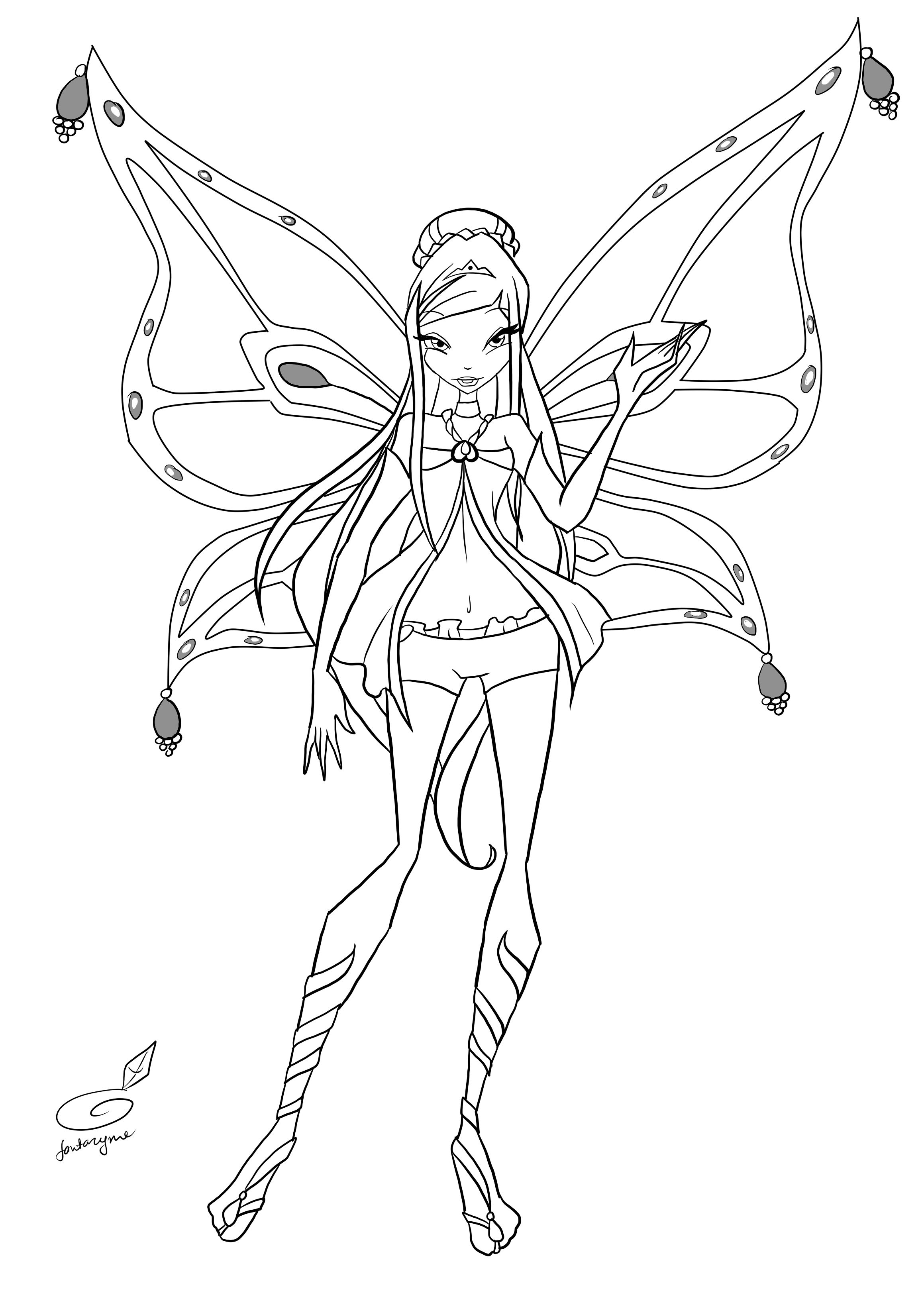 winx club flora coloring page - Google Search | Anime Art ...