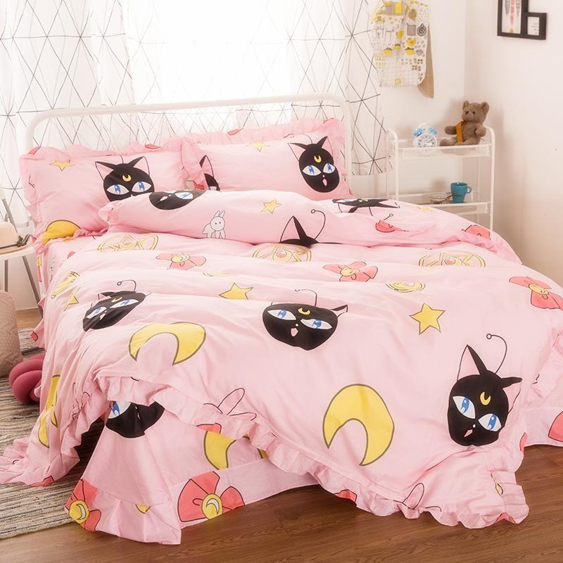 Pink Bedding Cute Duvet Covers, Sailor Moon Bedding Queen