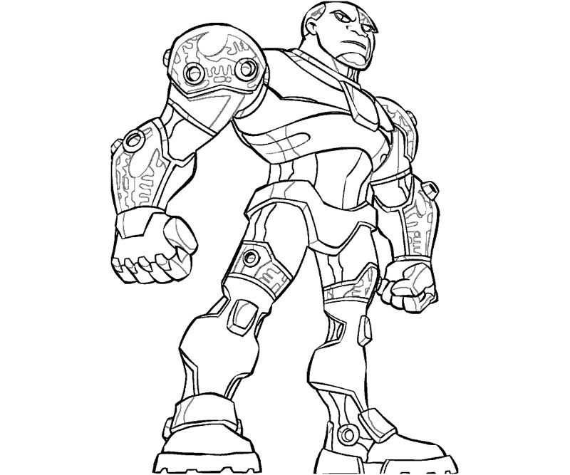 Teen Titans Cyborg Coloring Pages Coloring 4 Kids DC Super Herou0027s - new hulkbuster coloring pages