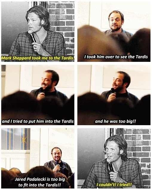 Mark Sheppard, Jared Padalecki and the Tardis  Supernatural meets Doctor Who