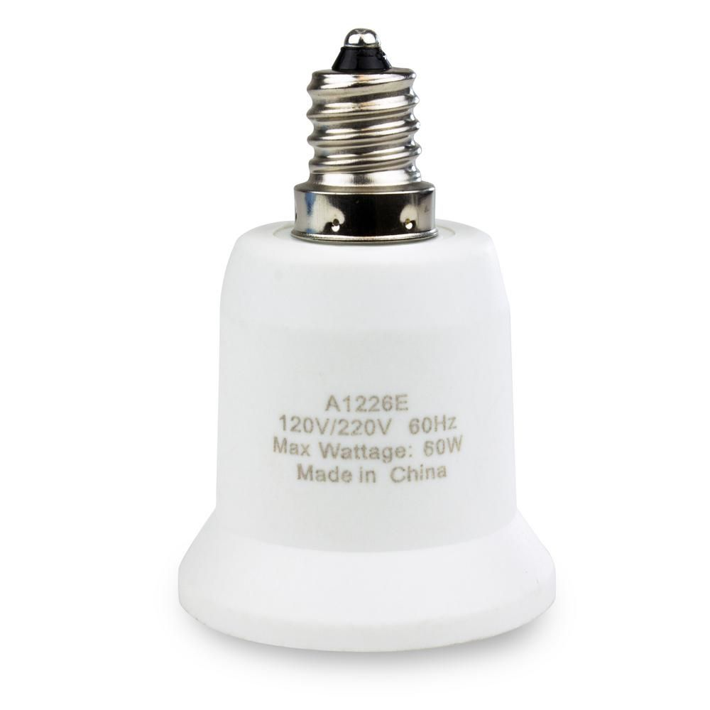 Adamax Candelabra To Medium Base E12 To E26 Light Bulb Adapter A1226e The Home Depot In 2020 Light Bulb Adapter Bulb Adapter Light Bulb