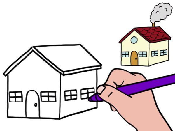 Apprendre à dessiner une maison en 3 étapes dessin Pinterest