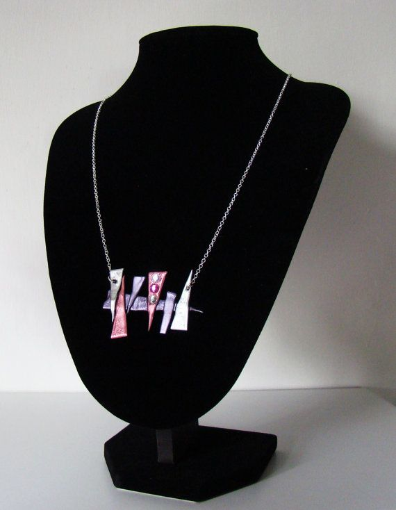 Pink and silver gem necklace