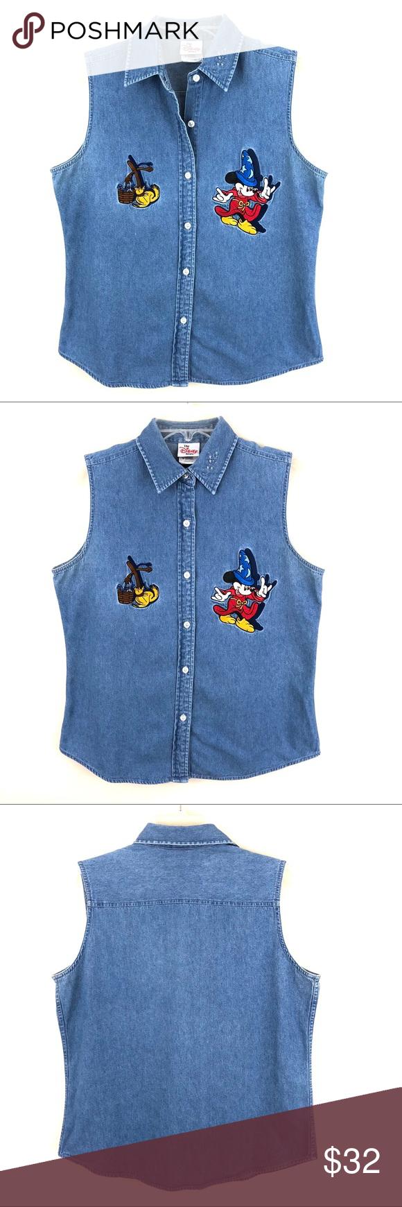 Vintage Disney Fantasia Sorcerer Denim Shirt Vintage Disney Clothes Design Fashion