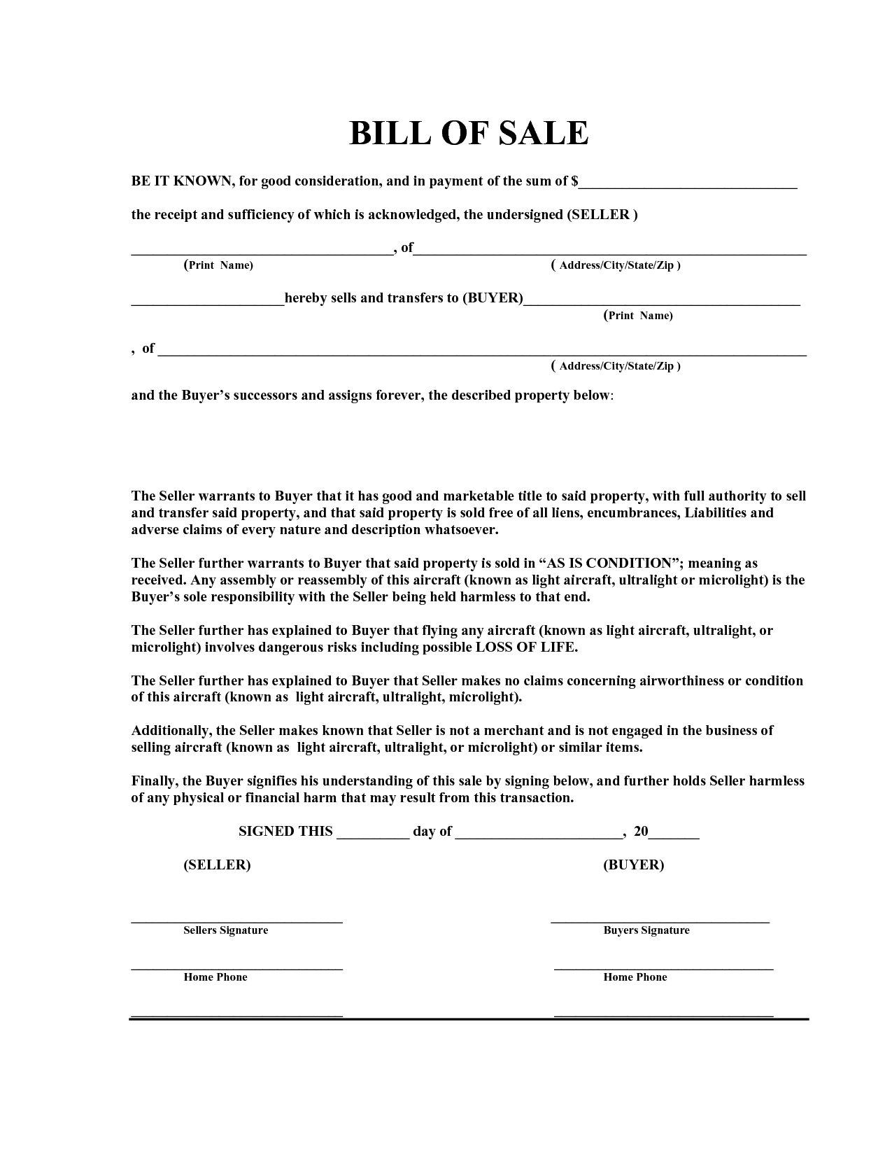 Free Printable Bill Of Sale Legal Forms – Legal Bill of Sale Template