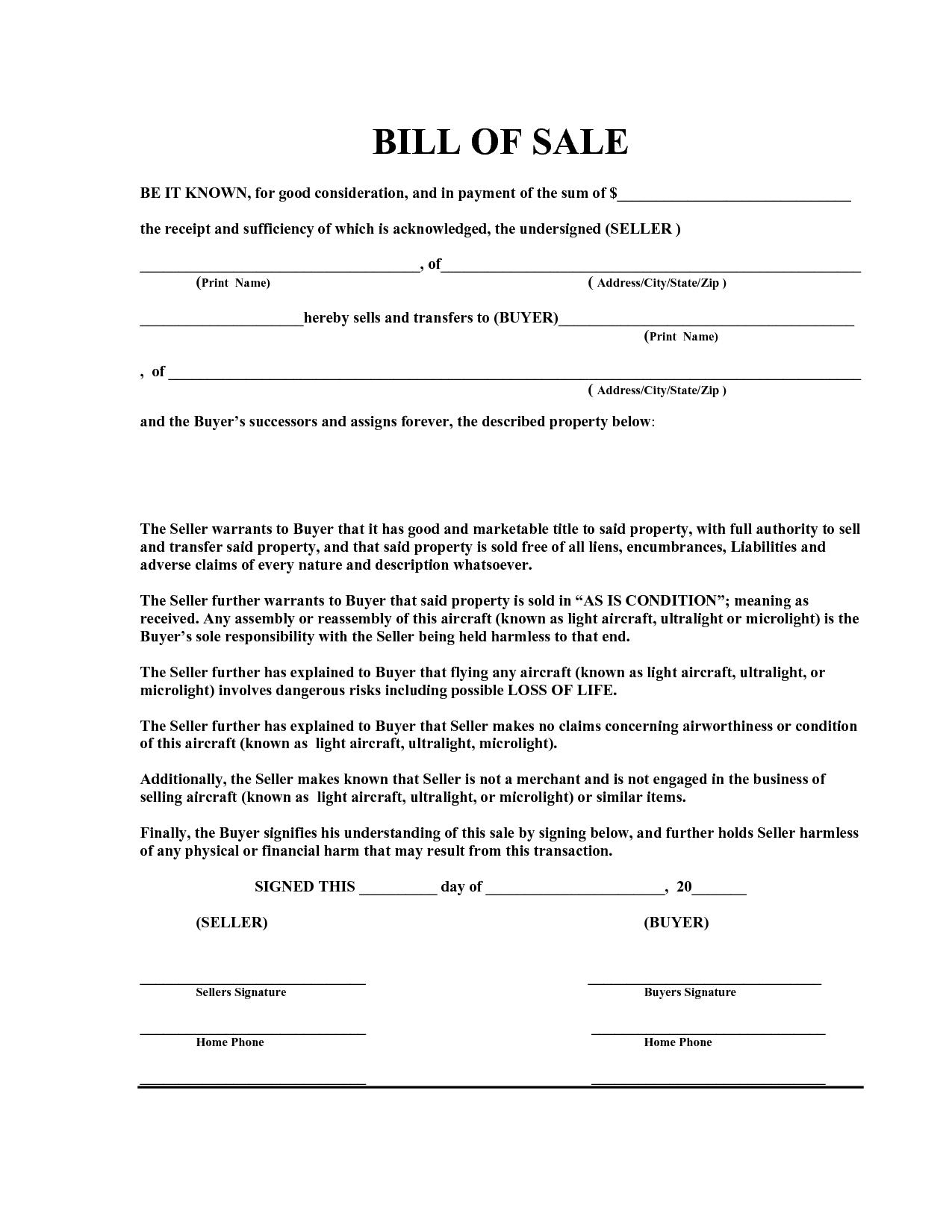 Bill Of Sale Receipt Template Pdf