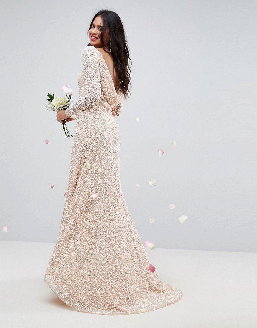 Asos bridal all over embellished long sleeve maxi dress pink