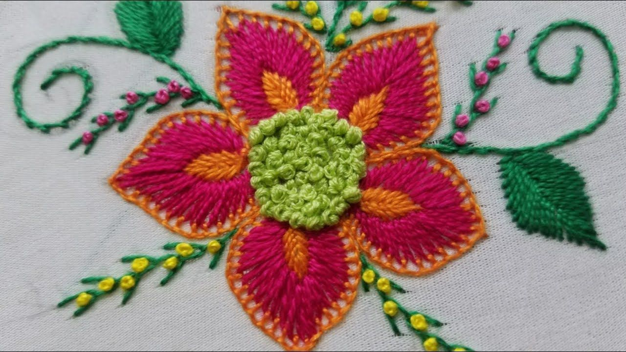 Easy hand embroideryFlower embroidery/beautiful Big flower hand ...