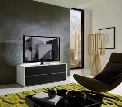 TV-Unterteil weiss hochglanz  Alurahmen mit Akustikstoff grau und - beleuchtung für wohnzimmer