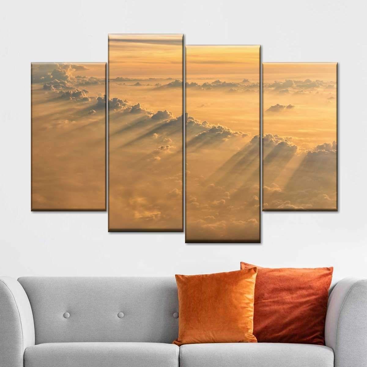 Sunrays From Heaven Multi Panel Canvas Wall Art