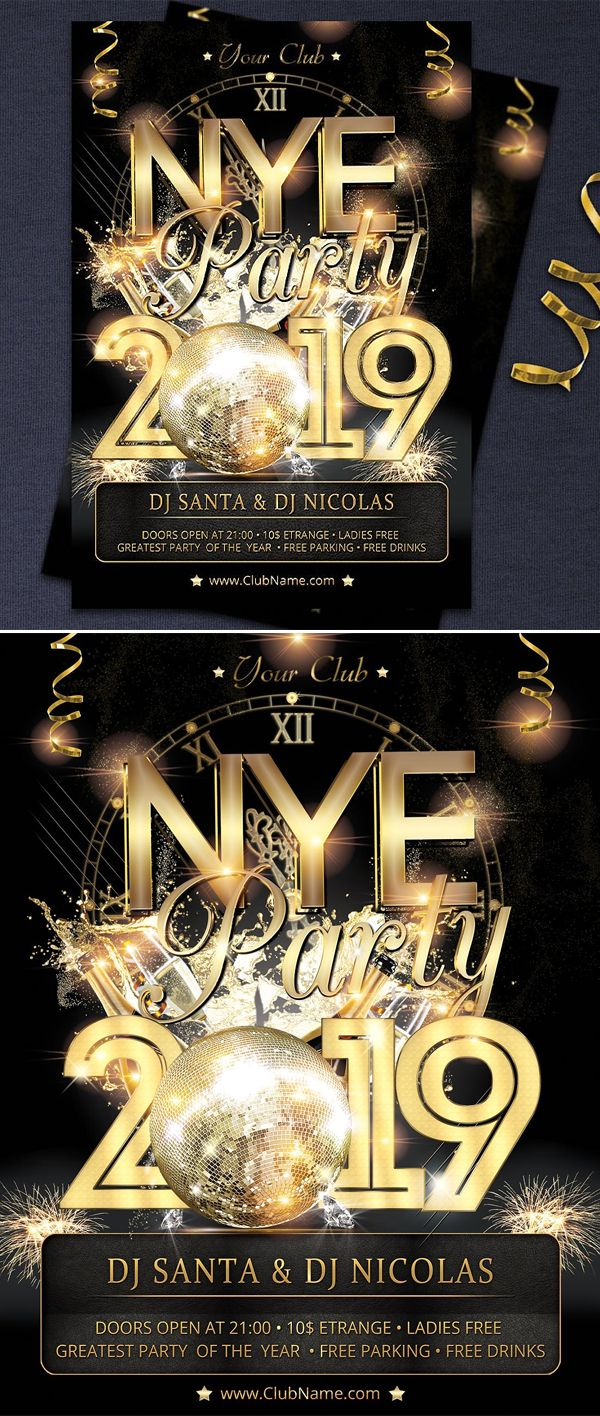 Creative New Year 2019 & Christmas Flyer Templates New