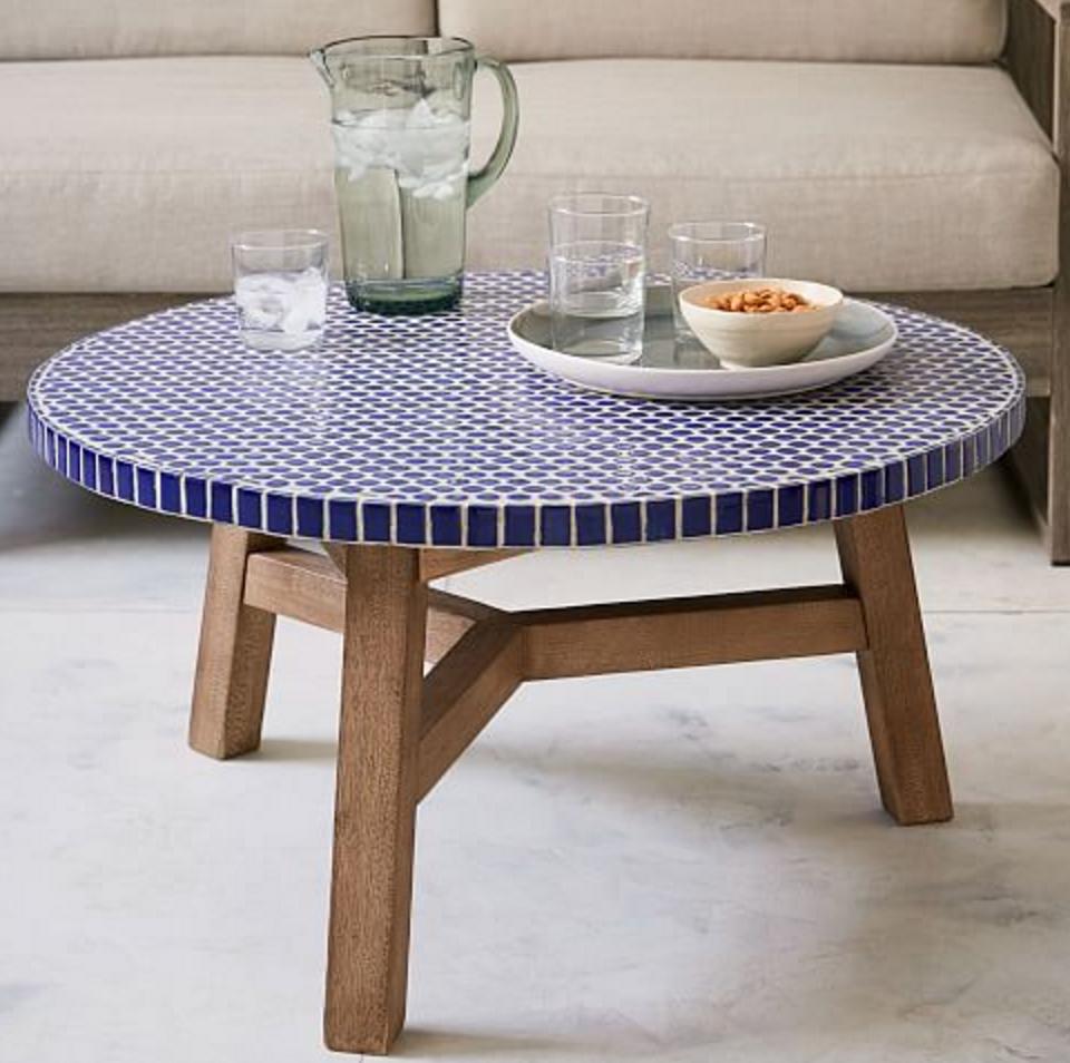 Cobalt Blue Mosaic Tile Round Coffee Table