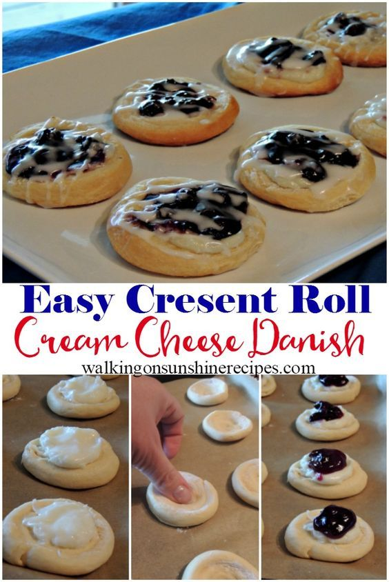 Easy Cream Cheese Danish Recipe with Canned Crescent Rolls is part of Cheese danish recipe - Blueberry Cream Cheese Danish is an easy recipe to make for breakfast this weekend! Grab a can of refrigerated crescent rolls and let's get baking!