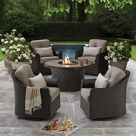 Member S Mark Agio Heritage 5 Piece Outdoor Fire Pit Chat Set With Sunbrella Fabric Sam S Club Patio Furniture Sets Best Outdoor Furniture Outdoor Decor