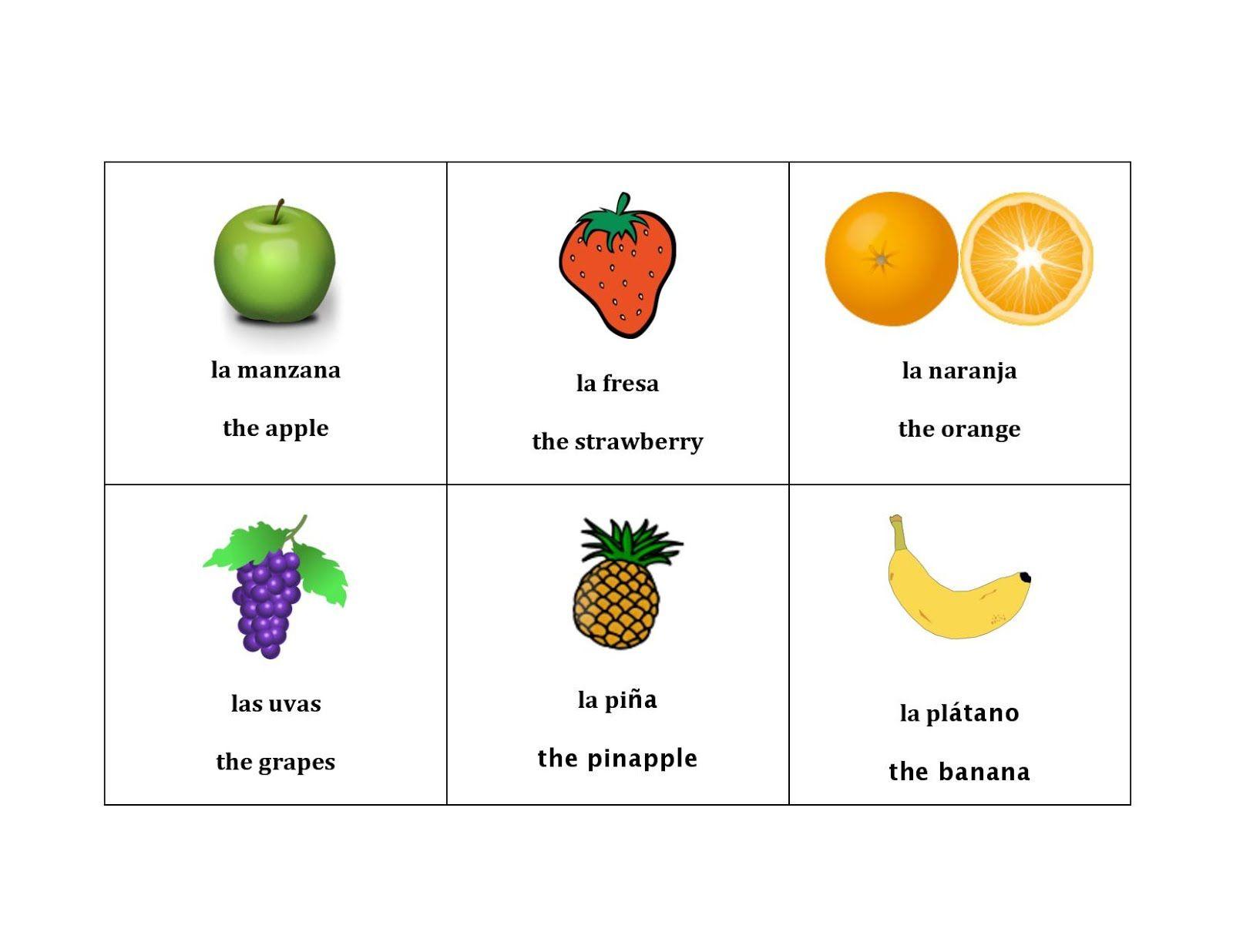 The Bilingual Homeschool Healthy Food Theme Fruit