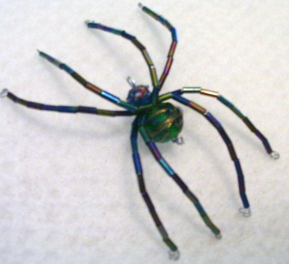 Wire beaded spider by Phydauxes on Etsy, $600 Bead Spiders - spiders for halloween decorations