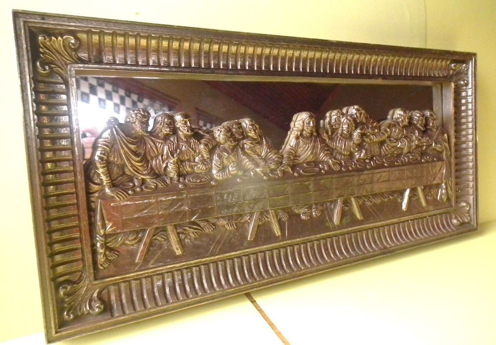 Home Interiors Last Supper Mirror Art Wall Plaque 3 D Gold Tone