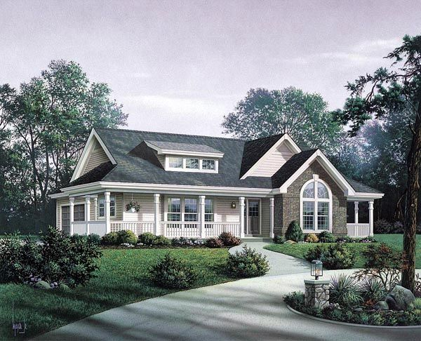 Bungalow country craftsman ranch house plan 87811 total for Country craftsman home plans