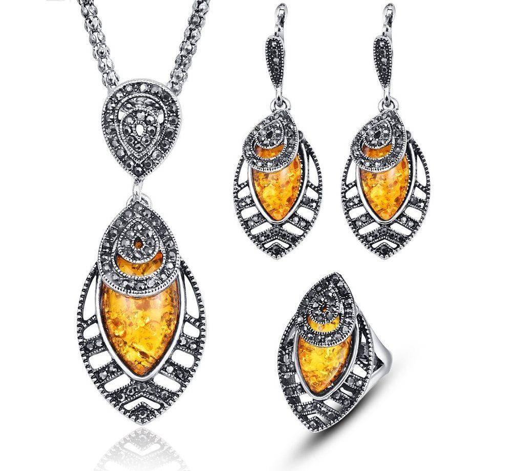 Kun women turkish necklace earring ring set vintage fashion parure