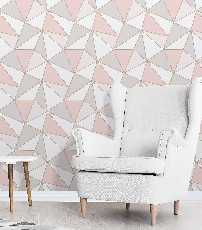 Fine décor Apex Rose gold Geometric Metallic effect