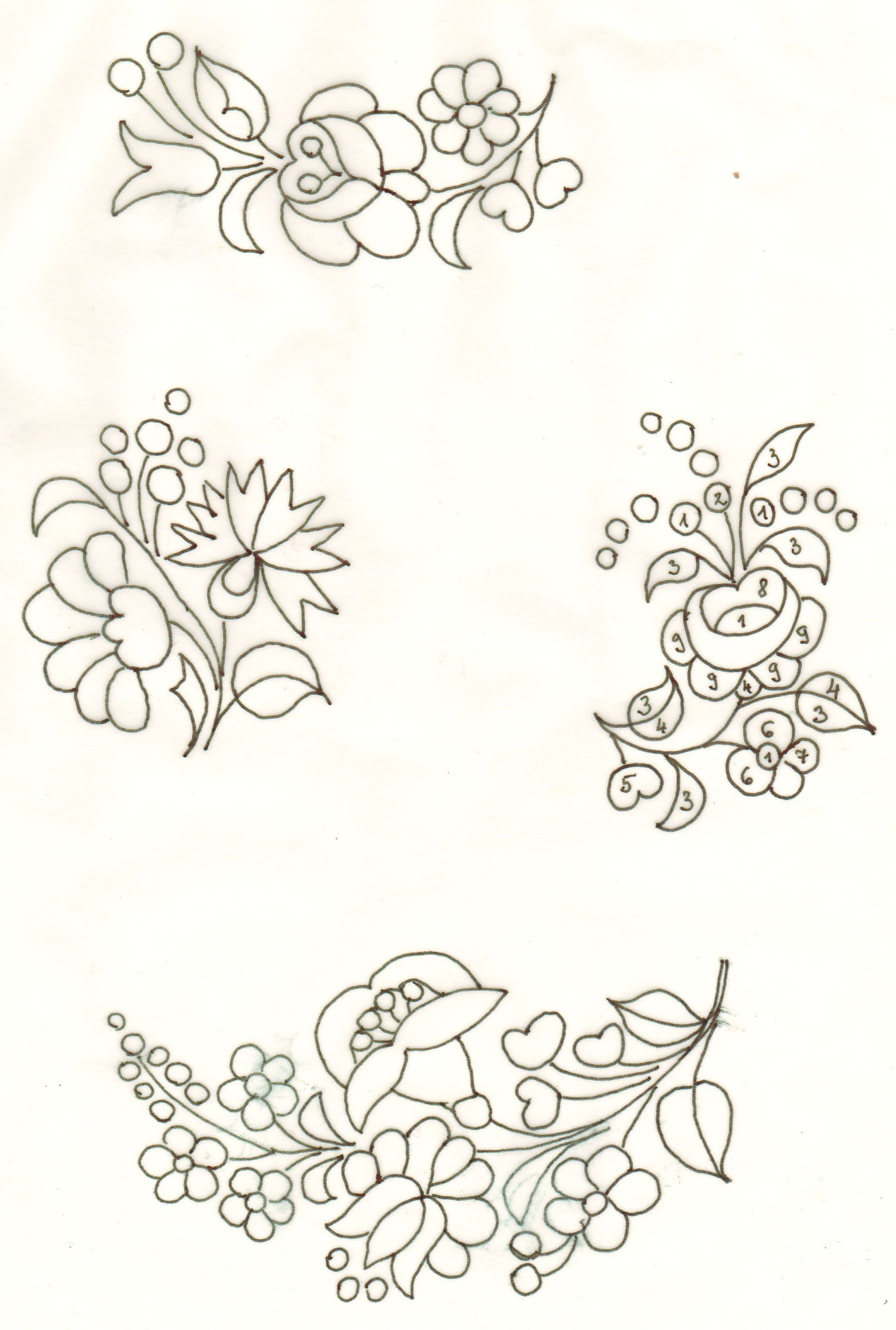 flores húngaras | Flores para porcelana | Bordado, Bordado hardanger ...
