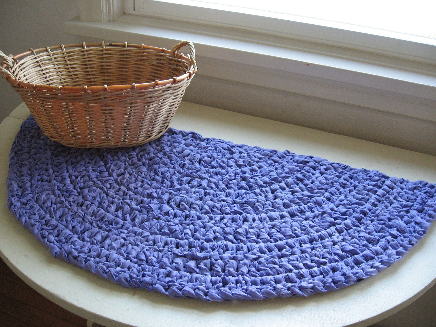 Modern Crochet Rug Half Moon Crocheted Rag Or Table Mat Upcycled Lavender Fabric