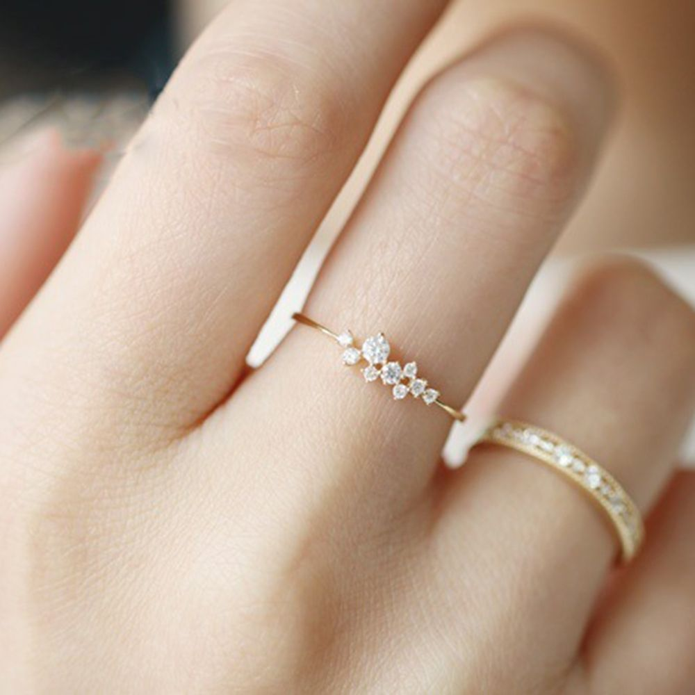 cube rings stackable small of sterling silver plated rose gold