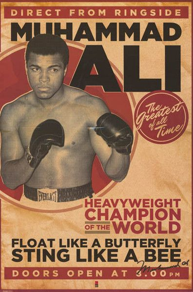 MUHAMMAD ALI FLOAT LIKE A BUTTERFLY 24x36 poster LISTON BOXING ICON CASSIUS CLAY