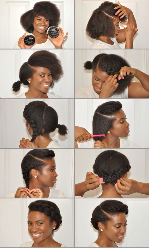 Tuto couronnes de tresses Coiffure Afro Cheveux Courts, Cheveux Noirs  Courts, Cheveux Crépus Frisés