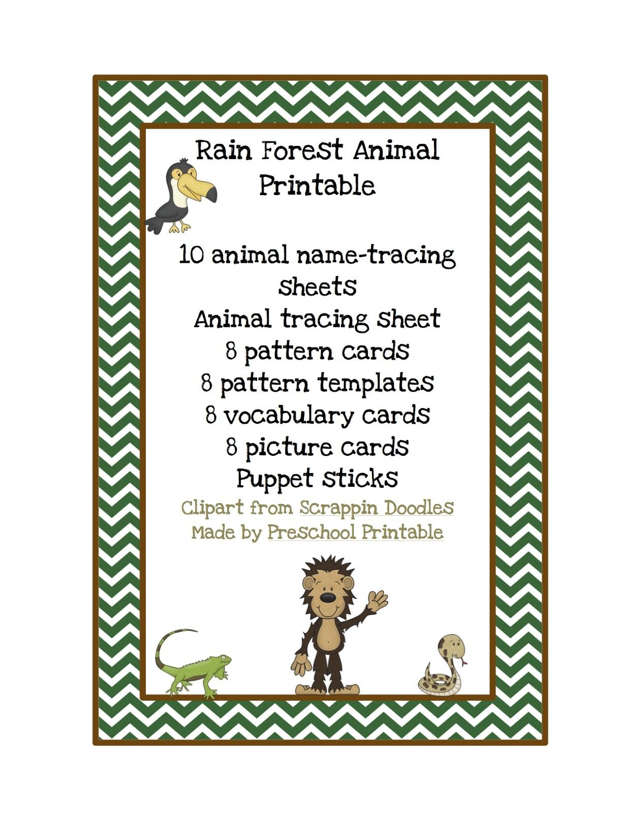 Preschool Printables Rain Forest Animal Printable